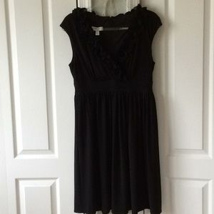 Black dress ruffled front